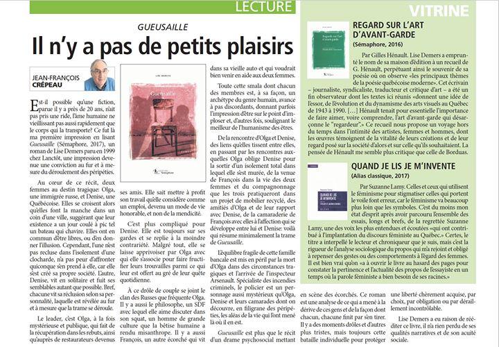 On parle à nouveau de «Gueusaille», cette fois dans le Journal Le Canada Français… (via facebook)