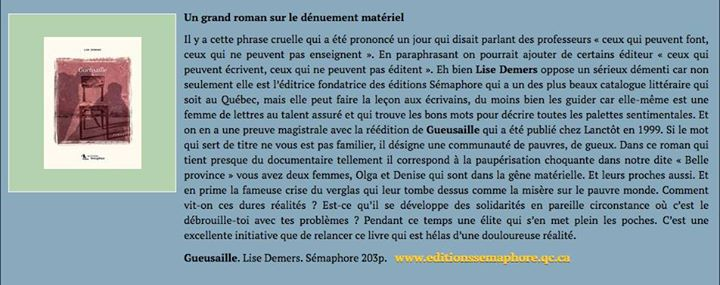 À peine sortie des presses, la réédition du roman «Gueusaille» reçoit un accueil bien… (via facebook)
