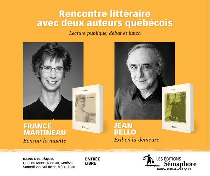 Au bord du lac Léman, samedi 29 avril, venez rencontrer Jean Bello et France… (via facebook)