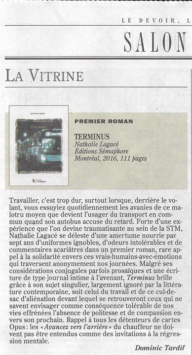 ««Terminus» de Nathalie Lagacé brille, grâce à son sujet singulier, largement ignoré par la… (via facebook)