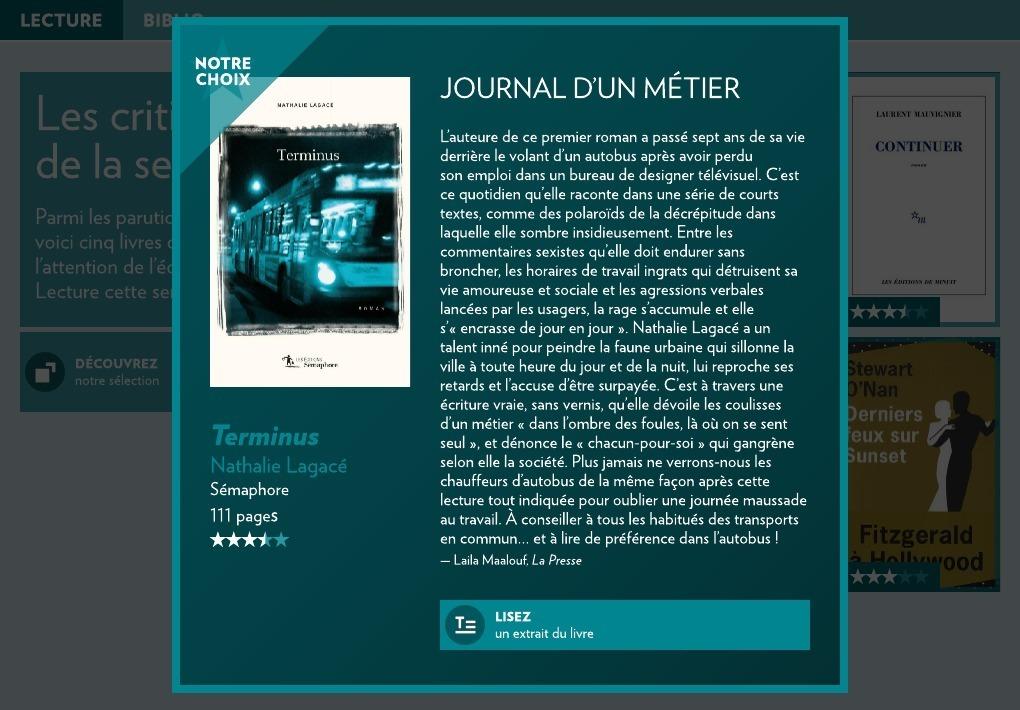 La Presse commente le roman Terminus, de Nathalie Lagacé : de bons mots pour… (via facebook)