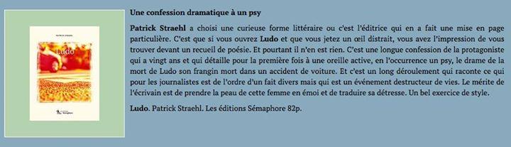 Selon Culture Hebdo, « Ludo » de Patrick Straehl est « un bel exercice… (via facebook)