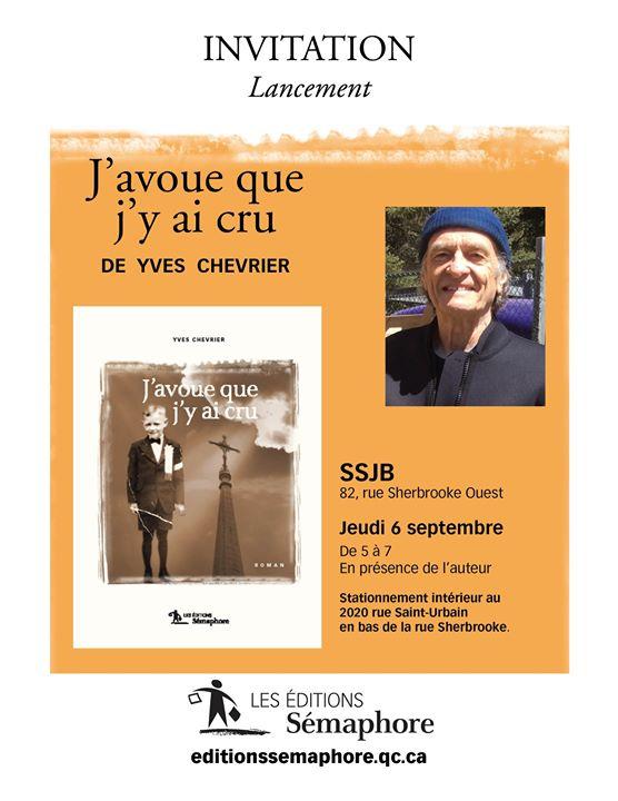 Lancement du roman de Yves Chevrier Nous vous invitons au lancement du dernier roman… (via facebook)