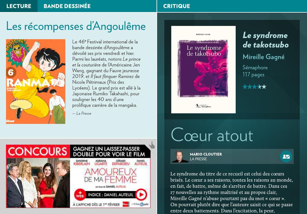 Encore un lecteur conquis! Dans La Presse+ du 27 janvier, Mario Cloutier écrit avoir… (via facebook)