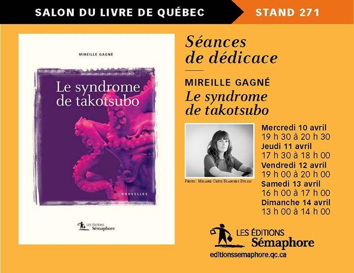 L'horaire de Mireille Gagné au Salon international du livre de Québec (via facebook)